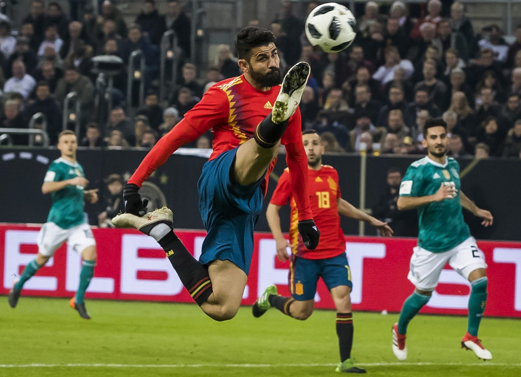 Spain's forward Diego da Silva Costa eyes the ball during the international friendly football match of Germany vs Spain in Duesseldorf, western Germany, on March 23, 2018, in preparation of the 2018 Fifa World Cup. / AFP PHOTO / ODD ANDERSEN / ALTERNATIVE CROP (Photo credit should read ODD ANDERSEN/AFP/Getty Images)
