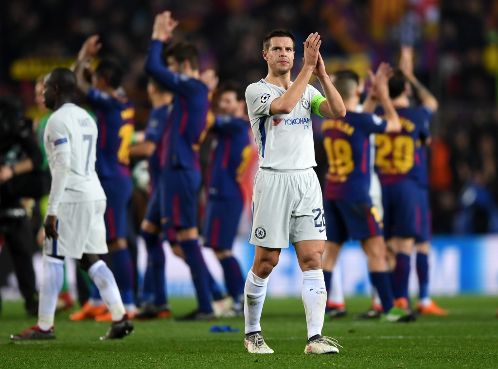 BARCELONA, SPAIN - MARCH 14: Cesar Azpilicueta of Chelsea shows appreciation to the fans after the UEFA Champions League Round of 16 Second Leg match FC Barcelona and Chelsea FC at Camp Nou on March 14, 2018 in Barcelona, Spain. (Photo by Shaun Botterill/Getty Images)