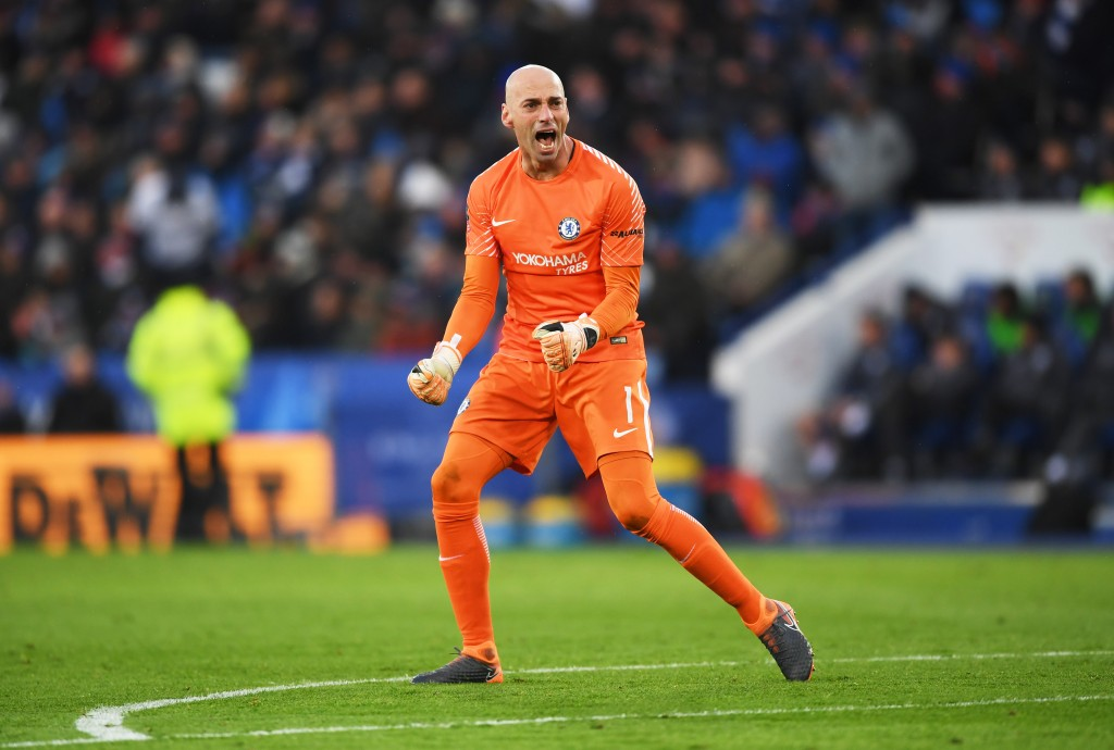 LEICESTER, ENGLAND - MARCH 18: Willy Caballero of Chelsea celebrates as Alvaro Morata of Chelsea scores their first goal during The Emirates FA Cup Quarter Final match between Leicester City and Chelsea at The King Power Stadium on March 18, 2018 in Leicester, England. (Photo by Shaun Botterill/Getty Images)