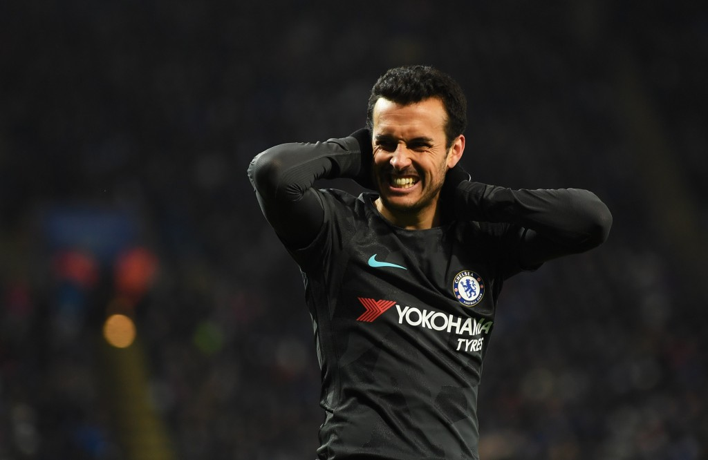 LEICESTER, ENGLAND - MARCH 18: Pedro of Chelsea reacts during The Emirates FA Cup Quarter Final match between Leicester City and Chelsea at The King Power Stadium on March 18, 2018 in Leicester, England. (Photo by Shaun Botterill/Getty Images)