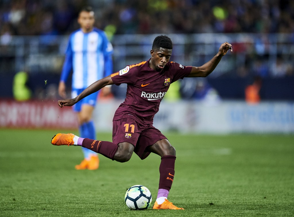 MALAGA, SPAIN - MARCH 10: Ousmane Dembele of FC Barcelona controls the ball during the La Liga match between Malaga and Barcelona at Estadio La Rosaleda on March 10, 2018 in Malaga, Spain. (Photo by Aitor Alcalde/Getty Images)