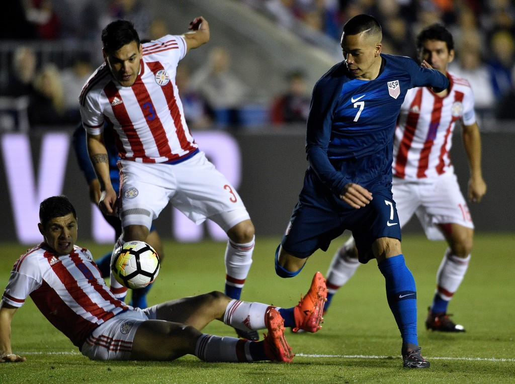 CARY, NC - MARCH 27: Bobby Wood #7 of United States battles Bruno Valdez #5 and Gustavo Gomez #3 of Paraguay for the ball during their game at WakeMed Soccer Park on March 27, 2018 in Cary, North Carolina. (Photo by Grant Halverson/Getty Images)