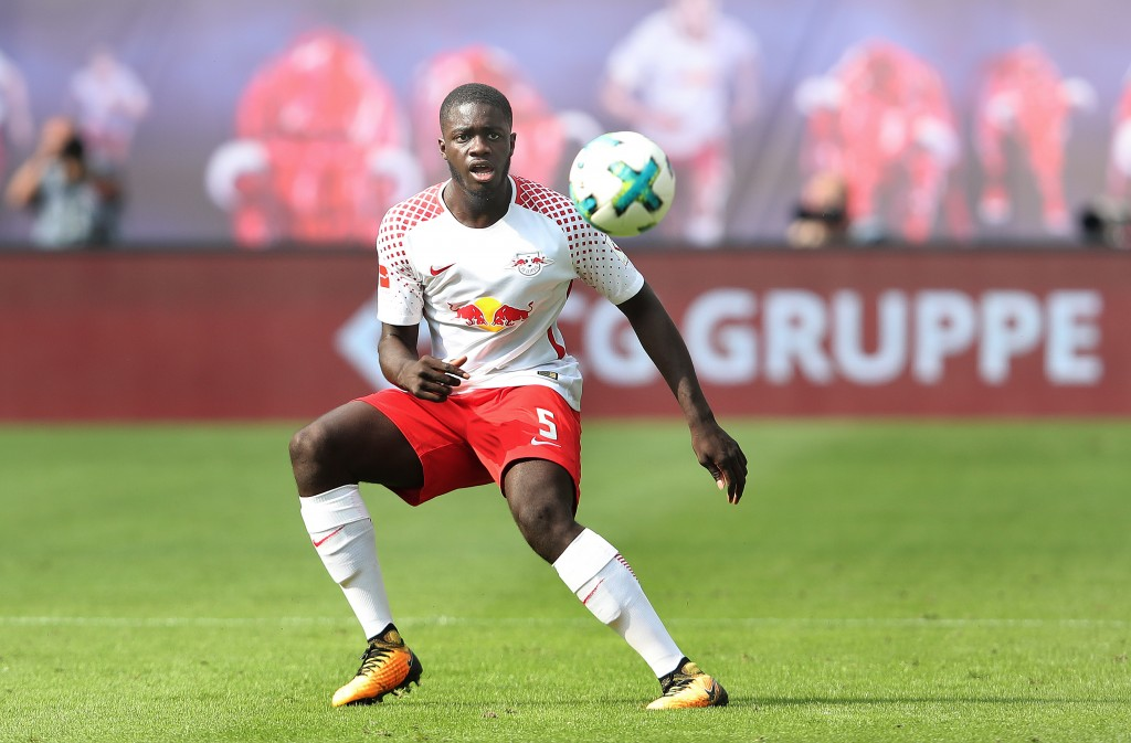 LEIPZIG, GERMANY - AUGUST 27: Dayot Upamecano of Leipzig passes the ball during the Bundesliga match between RB Leipzig and Sport-Club Freiburg at Red Bull Arena on August 27, 2017 in Leipzig, Germany. (Photo by Ronny Hartmann/Bongarts/Getty Images)