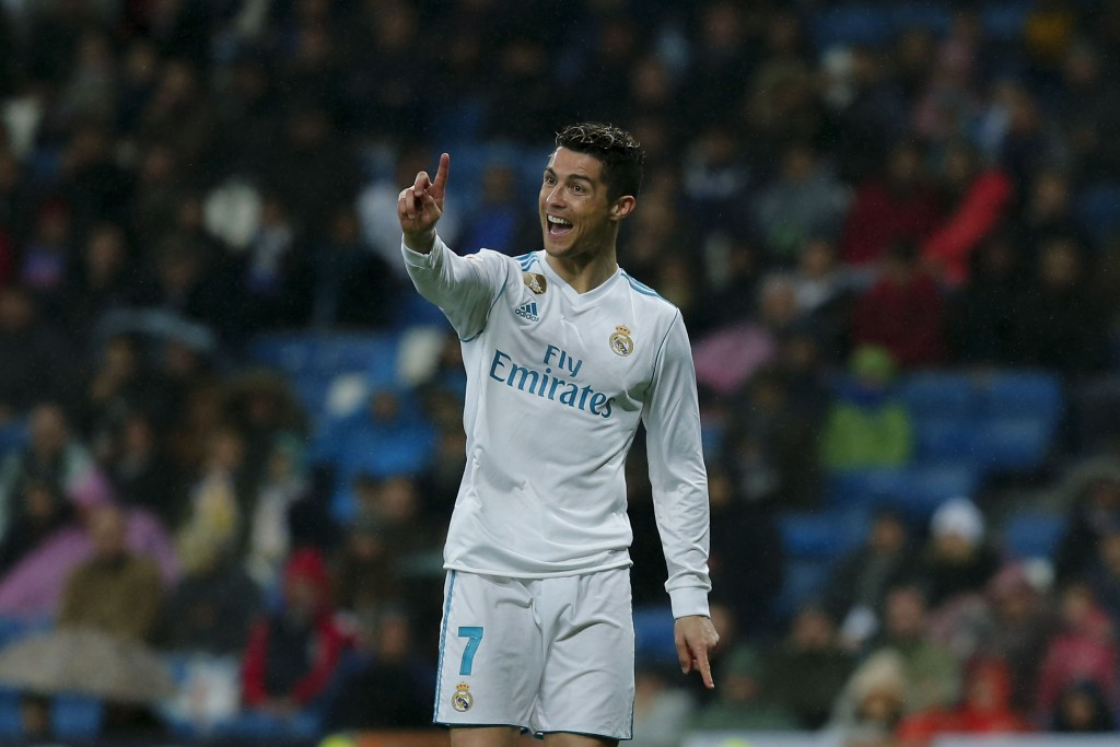 MADRID, SPAIN - MARCH 03: Cristiano Ronaldo of Real Madrid CF reacts during the La Liga match between Real Madrid CF and Getafe CF at Estadio Santiago Bernabeu on March 3, 2018 in Madrid, Spain. (Photo by Gonzalo Arroyo Moreno/Getty Images)