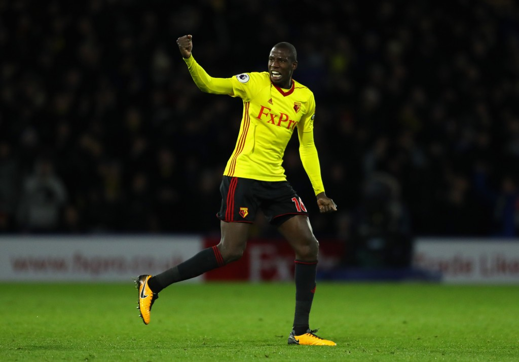 WATFORD, ENGLAND - NOVEMBER 28: Abdoulaye Doucoure of Watford celebrates scoring the 2nd Watford goal during the Premier League match between Watford and Manchester United at Vicarage Road on November 28, 2017 in Watford, England. (Photo by Richard Heathcote/Getty Images)