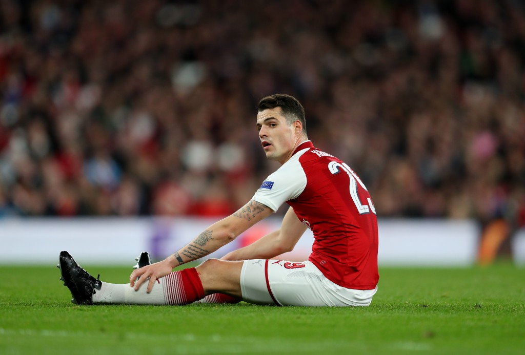 LONDON, ENGLAND - APRIL 05: Granit Xhaka of Arsenal during the UEFA Europa League quarter final leg one match between Arsenal FC and CSKA Moskva at Emirates Stadium on April 5, 2018 in London, United Kingdom. (Photo by Catherine Ivill/Getty Images)