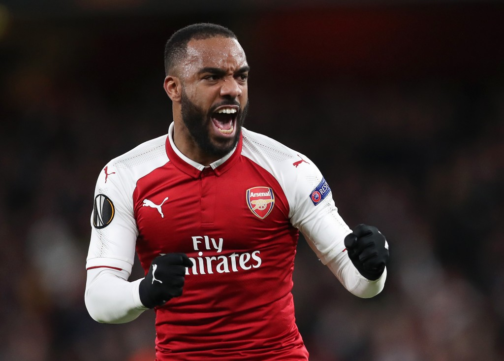 LONDON, ENGLAND - APRIL 05: Alexandre Lacazette of Arsenal celebrates scoring the second goal from the penalty spot during the UEFA Europa League quarter final first leg match between Arsenal FC and CSKA Moskva at Emirates Stadium on April 5, 2018 in London, United Kingdom. (Photo by Dan Istitene/Getty Images,)