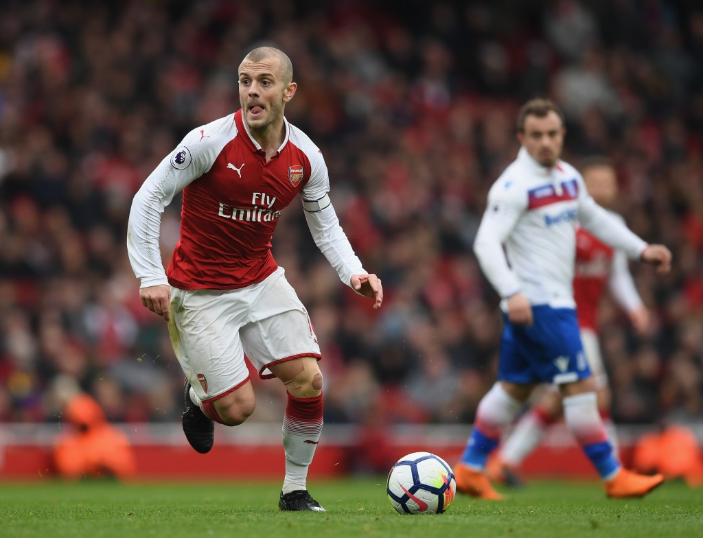 LONDON, ENGLAND - APRIL 01: Jack Wilshere of Arsenal runs with the ball during the Premier League match between Arsenal and Stoke City at Emirates Stadium on April 1, 2018 in London, England. (Photo by Shaun Botterill/Getty Images)
