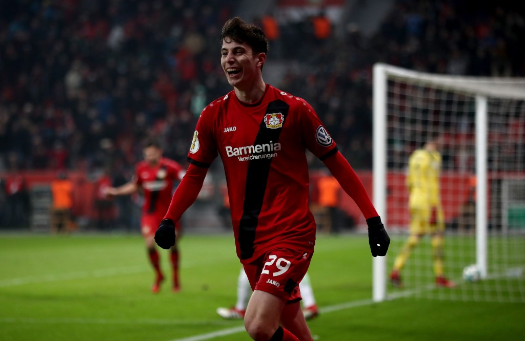 LEVERKUSEN, GERMANY - FEBRUARY 06: Kai Havertz of Leverkusen celebrates after he scores the 4th goal during extra time during the DFB Cup quarter final match between Bayer Leverkusen and Werder Bremen at BayArena on February 6, 2018 in Leverkusen, Germany. (Photo by Alex Grimm/Bongarts/Getty Images)