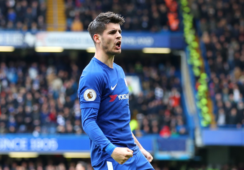 LONDON, ENGLAND - APRIL 01: Alvaro Morata of Chelsea celebrates after scoring his sides first goal during the Premier League match between Chelsea and Tottenham Hotspur at Stamford Bridge on April 1, 2018 in London, England. (Photo by Catherine Ivill/Getty Images)