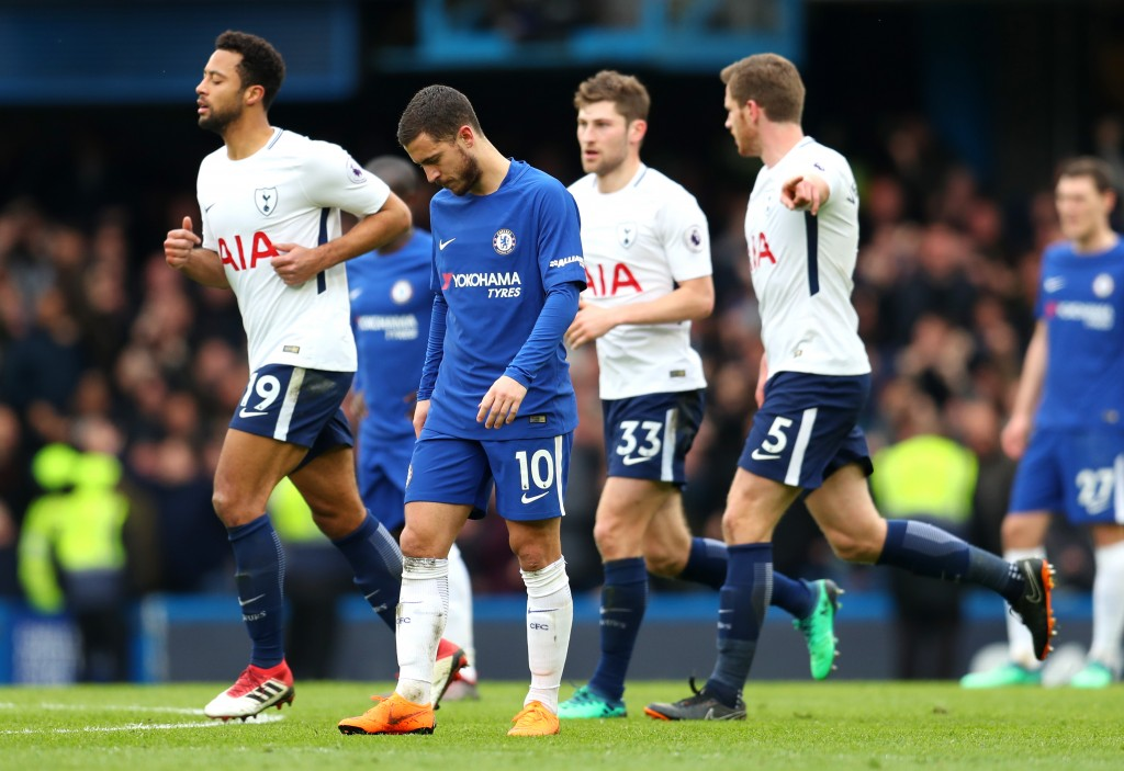 LONDON, ENGLAND - APRIL 01: Eden Hazard of Chelsea looks dejected are Dele Alli of Tottenham Hotspur (not pictured) scores his sides second goal during the Premier League match between Chelsea and Tottenham Hotspur at Stamford Bridge on April 1, 2018 in London, England. (Photo by Catherine Ivill/Getty Images)