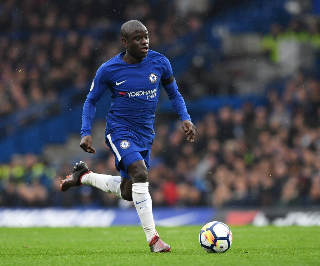 LONDON, ENGLAND - APRIL 08: N'Golo Kante of Chelsea in action during the Premier League match between Chelsea and West Ham United at Stamford Bridge on April 8, 2018 in London, England. (Photo by Shaun Botterill/Getty Images)