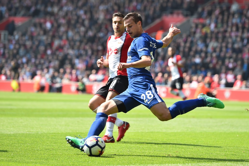 Chelsea's Spanish defender Cesar Azpilicueta plays the ball during the English Premier League football match between Southampton and Chelsea at St Mary's Stadium in Southampton, southern England on April 14, 2018. / AFP PHOTO / Glyn KIRK / RESTRICTED TO EDITORIAL USE. No use with unauthorized audio, video, data, fixture lists, club/league logos or 'live' services. Online in-match use limited to 75 images, no video emulation. No use in betting, games or single club/league/player publications. / (Photo credit should read GLYN KIRK/AFP/Getty Images)