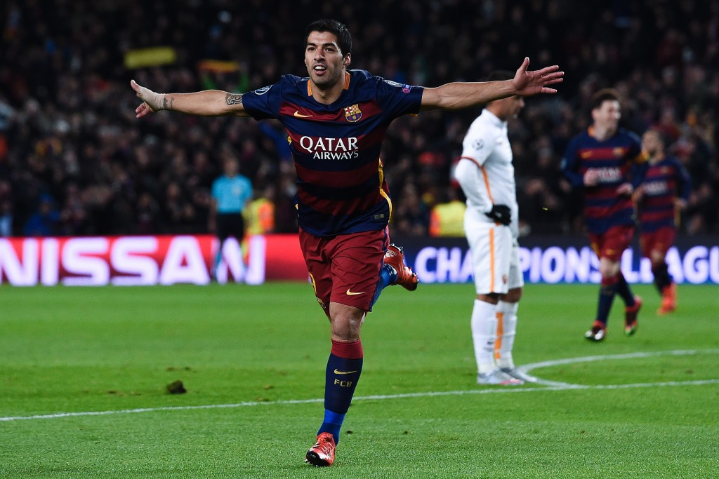 Barcelona's Uruguayan forward Luis Suarez celebrates after scoring during the UEFA Champions League Group E football match FC Barcelona vs AS Roma at the Camp Nou stadium in Barcelona on November 24, 2015. AFP PHOTO/ JOSEP LAGO / AFP / JOSEP LAGO (Photo credit should read JOSEP LAGO/AFP/Getty Images)