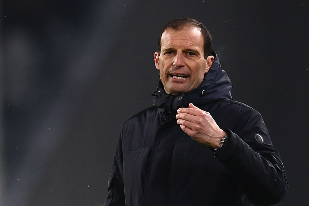 Juventus' coach Massimiliano Allegri reacts during the Italian Tim Cup football match between Juventus and Atalanta at the 'Allianz Stadium' in Turin on February 28, 2018. / AFP PHOTO / MARCO BERTORELLO (Photo credit should read MARCO BERTORELLO/AFP/Getty Images)