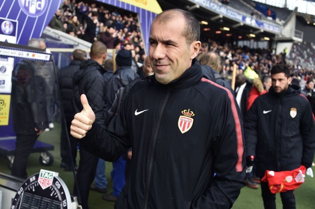 Monaco's Portuguese coach Leonardo Jardim gives the thumb up during the French L1 football match between Toulouse (TFC) and Monaco (ASM) on February 24, 2018, at the Municipal Stadium in Toulouse, southern France. / AFP PHOTO / PASCAL PAVANI (Photo credit should read PASCAL PAVANI/AFP/Getty Images)