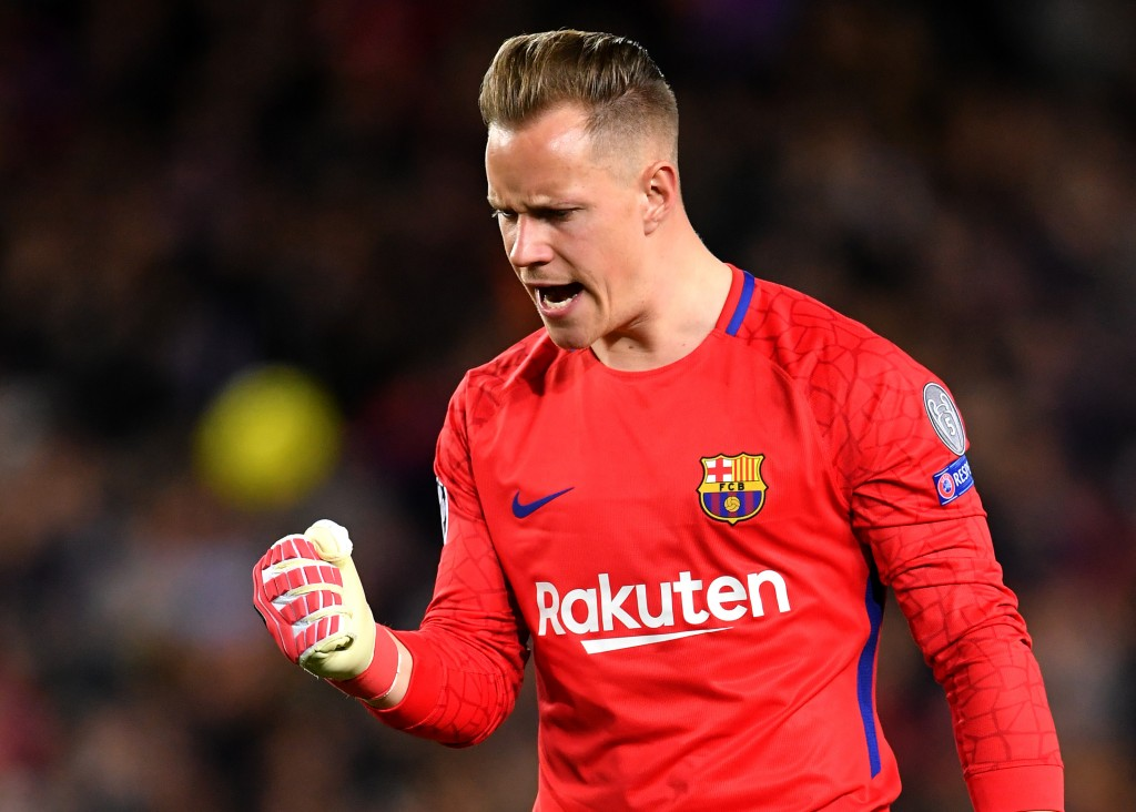 BARCELONA, SPAIN - APRIL 04: Marc-Andre ter Stegen of Barcelona celebrates his sides first goal during the UEFA Champions League Quarter Final Leg One match between FC Barcelona and AS Roma at Camp Nou on April 4, 2018 in Barcelona, Spain. (Photo by Stuart Franklin/Getty Images)