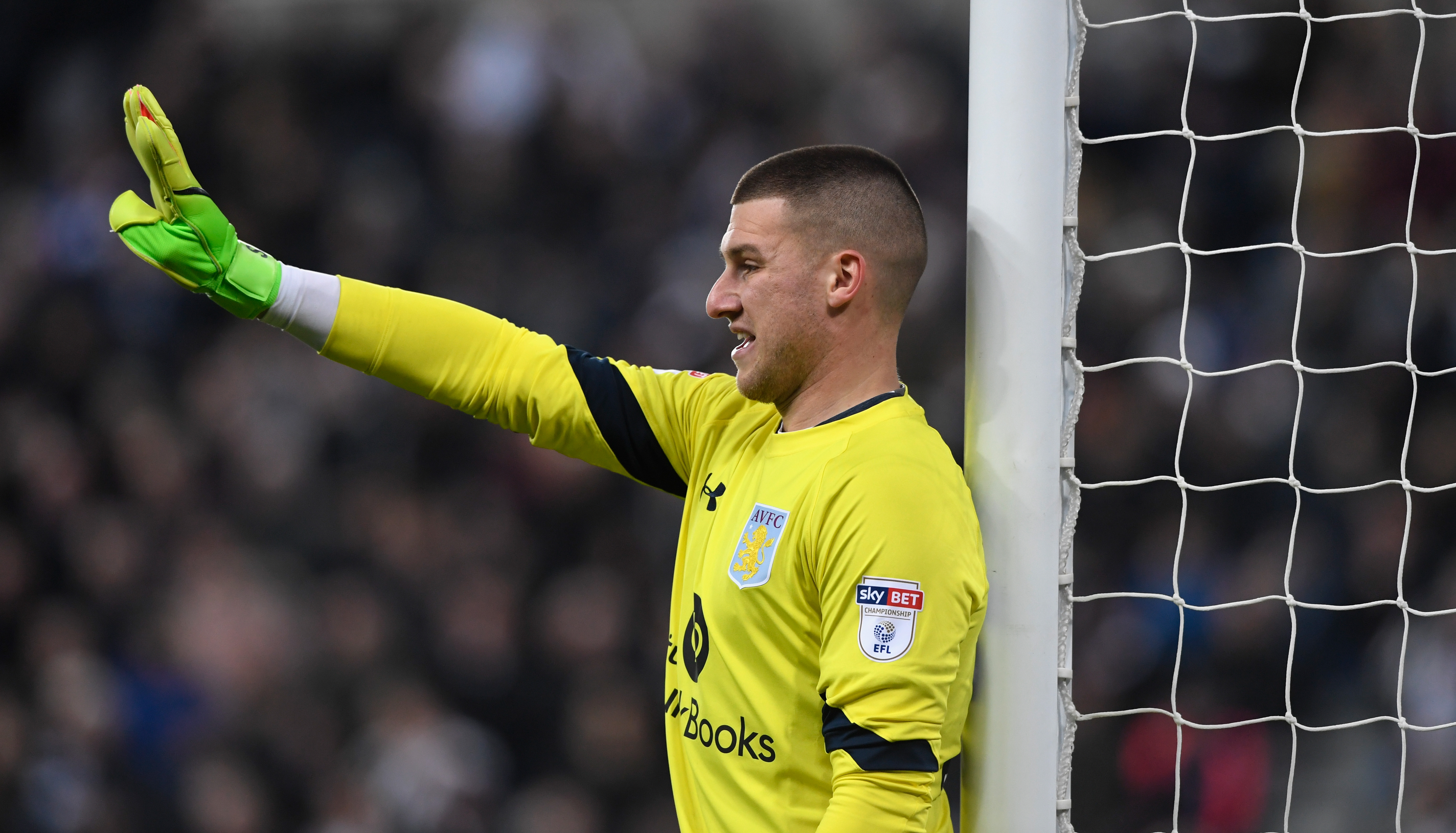 NEWCASTLE UPON TYNE, ENGLAND - FEBRUARY 20: Villa keeper Sam Johnstone in action during the Sky Bet Championship match between Newcastle United and Aston Villa at St James' Park on February 20, 2017 in Newcastle upon Tyne, England. (Photo by Stu Forster/Getty Images)