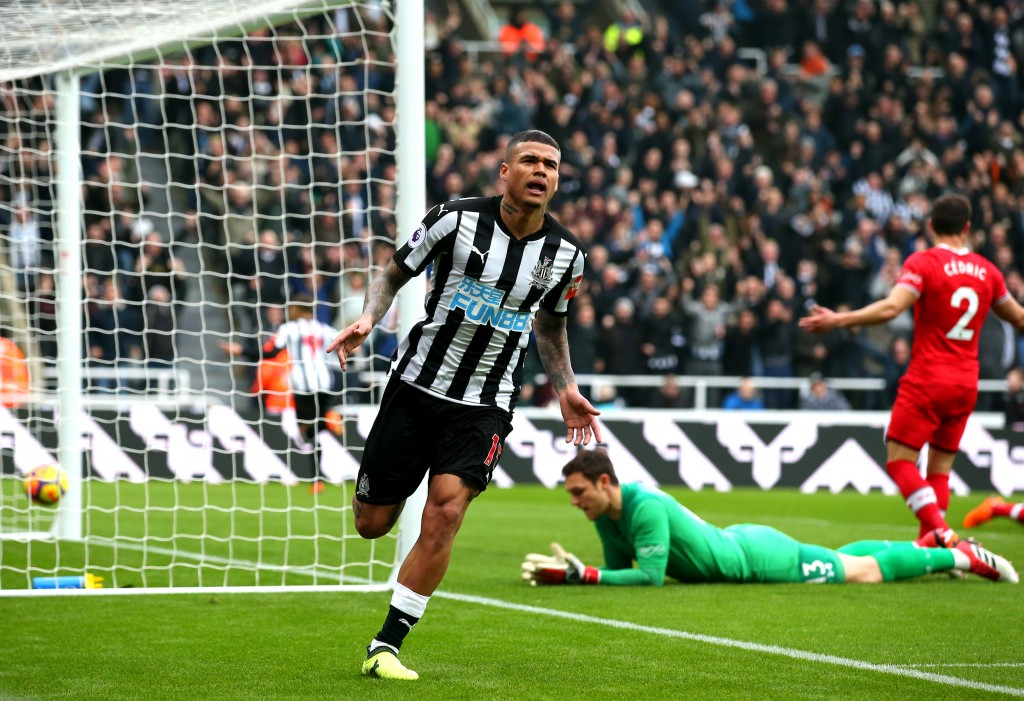 NEWCASTLE UPON TYNE, ENGLAND - MARCH 10: Kenedy of Newcastle United celebrates scoring his side's second goal during the Premier League match between Newcastle United and Southampton at St. James Park on March 10, 2018 in Newcastle upon Tyne, England. (Photo by Alex Livesey/Getty Images)