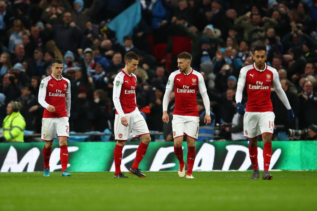 Arsenal players did not have an answer for Manchester City's goal in the Carabao Cup Final. (Photo curtesy: AFP/Getty)