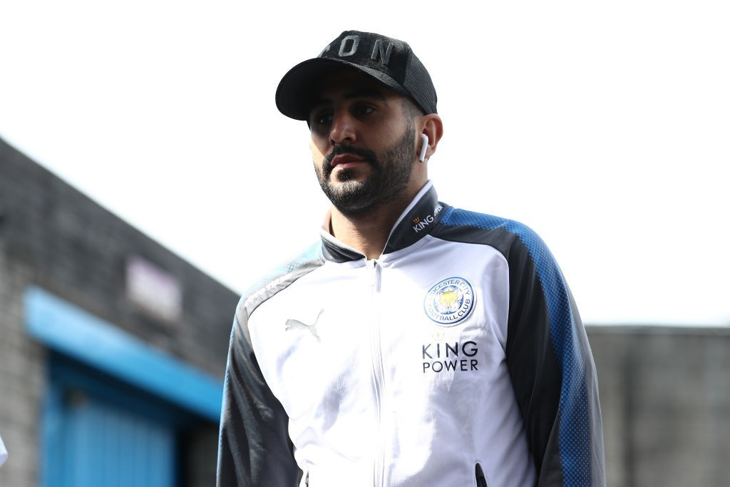 BURNLEY, ENGLAND - APRIL 14: Riyad Mahrez of Leicester City arrives at the stadium prior to the Premier League match between Burnley and Leicester City at Turf Moor on April 14, 2018 in Burnley, England. (Photo by Matthew Lewis/Getty Images)