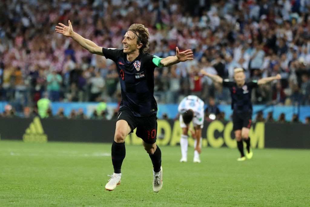 Luka Mordic celebrates after scoring a belter against Argentina in Croatia's win over the South Americans. (Photo courtesy: AFP/Getty)