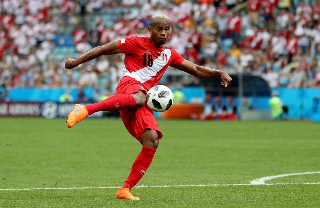 Andre Carrillo scores Peru's opener against Australia and his nation's first goal at this World Cup. (Photo courtesy: AFP/Getty)