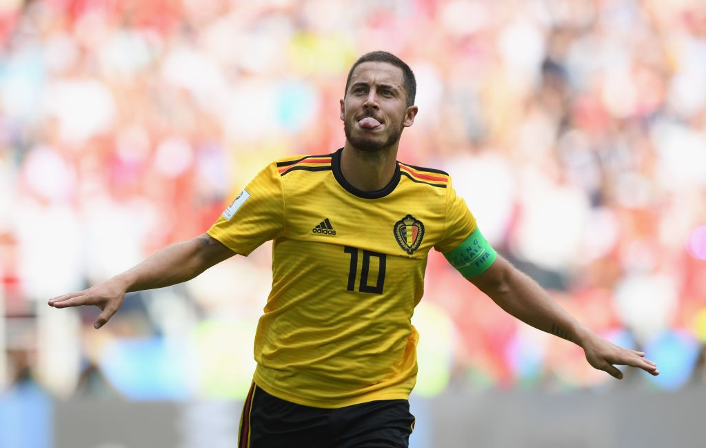 MOSCOW, RUSSIA - JUNE 23: Eden Hazard of Belgium celebrates after scoring during the 2018 FIFA World Cup Russia group G match between Belgium and Tunisia at Spartak Stadium on June 23, 2018 in Moscow, Russia. (Photo by Shaun Botterill/Getty Images)