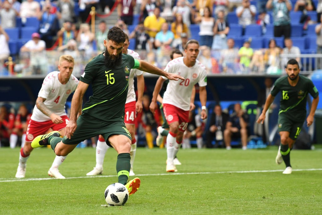 Mile Jedinak had a fine day against Denmark and capped off his performance with yet another penalty goal. (photo courtesy: AFP/Getty)