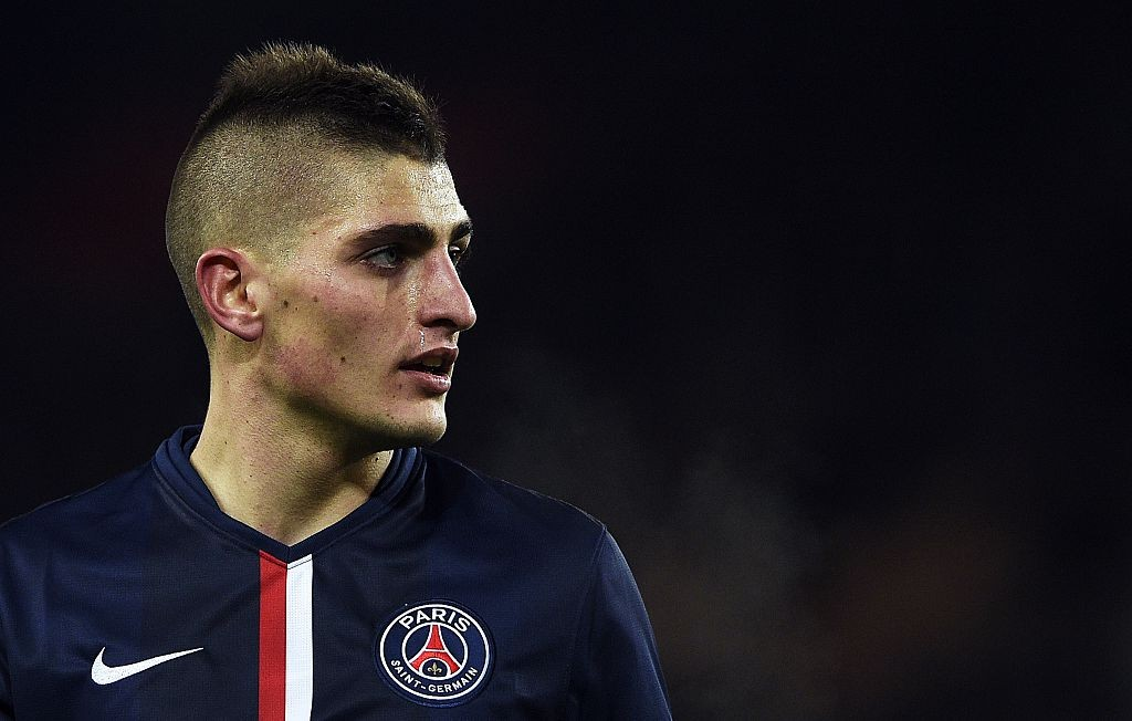 Paris Saint-Germain's Italian midfielder Marco Verratti looks on during the French L1 football match between Paris Saint-Germain (PSG) and Rennes (SR) at the Parc des Princes stadium in Paris on January 30, 2015. AFP PHOTO / FRANCK FIFE (Photo credit should read FRANCK FIFE/AFP/Getty Images)