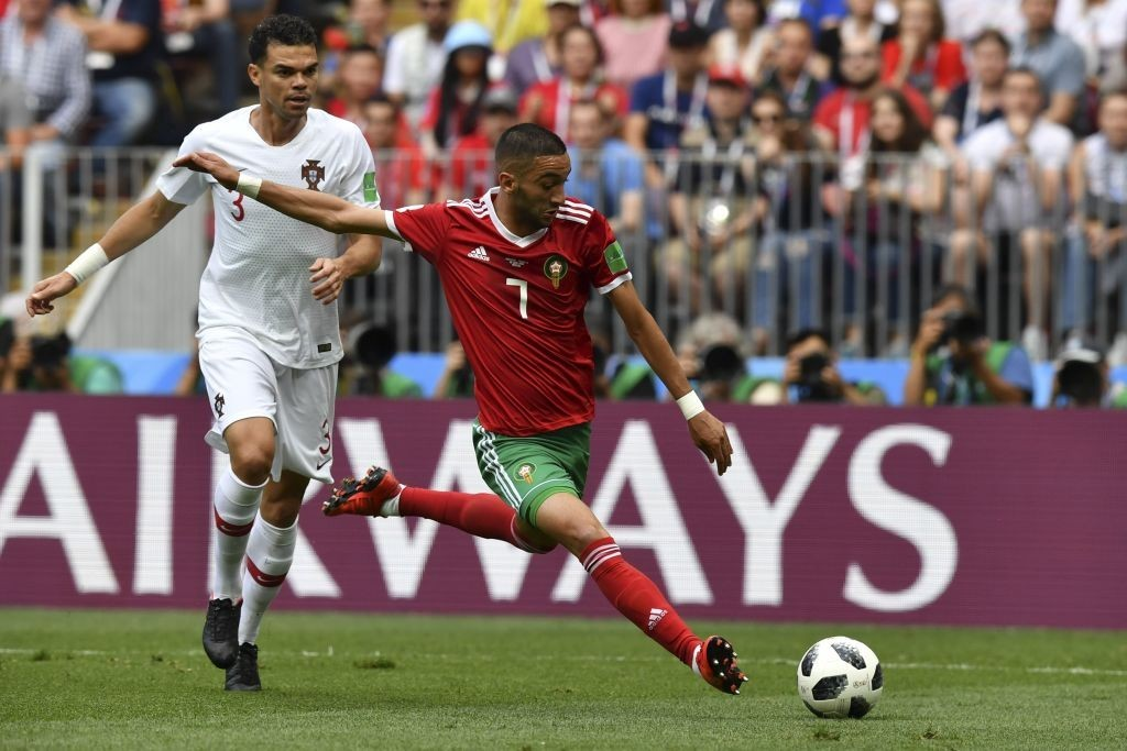 Ziyech (L) was an effective outlet for Morocco (Photo by FADEL SENNA/AFP/Getty Images)