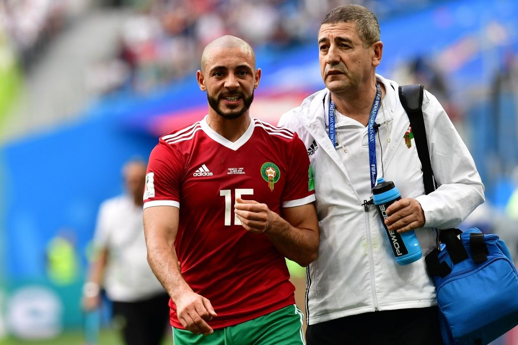 Noureddine Amrabat was a bright attacking light for Morocco, but unfortunately went off in the second half after suffering concussion. (Photo courtesy: AFP/Getty)