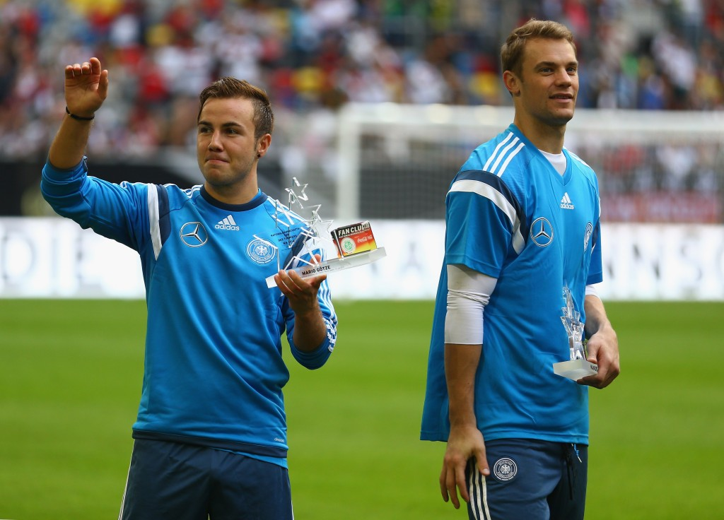 Neuer (R) made it, while Gotze (L) missed out (Photo: Christof Koepsel/Bongarts/Getty Images)