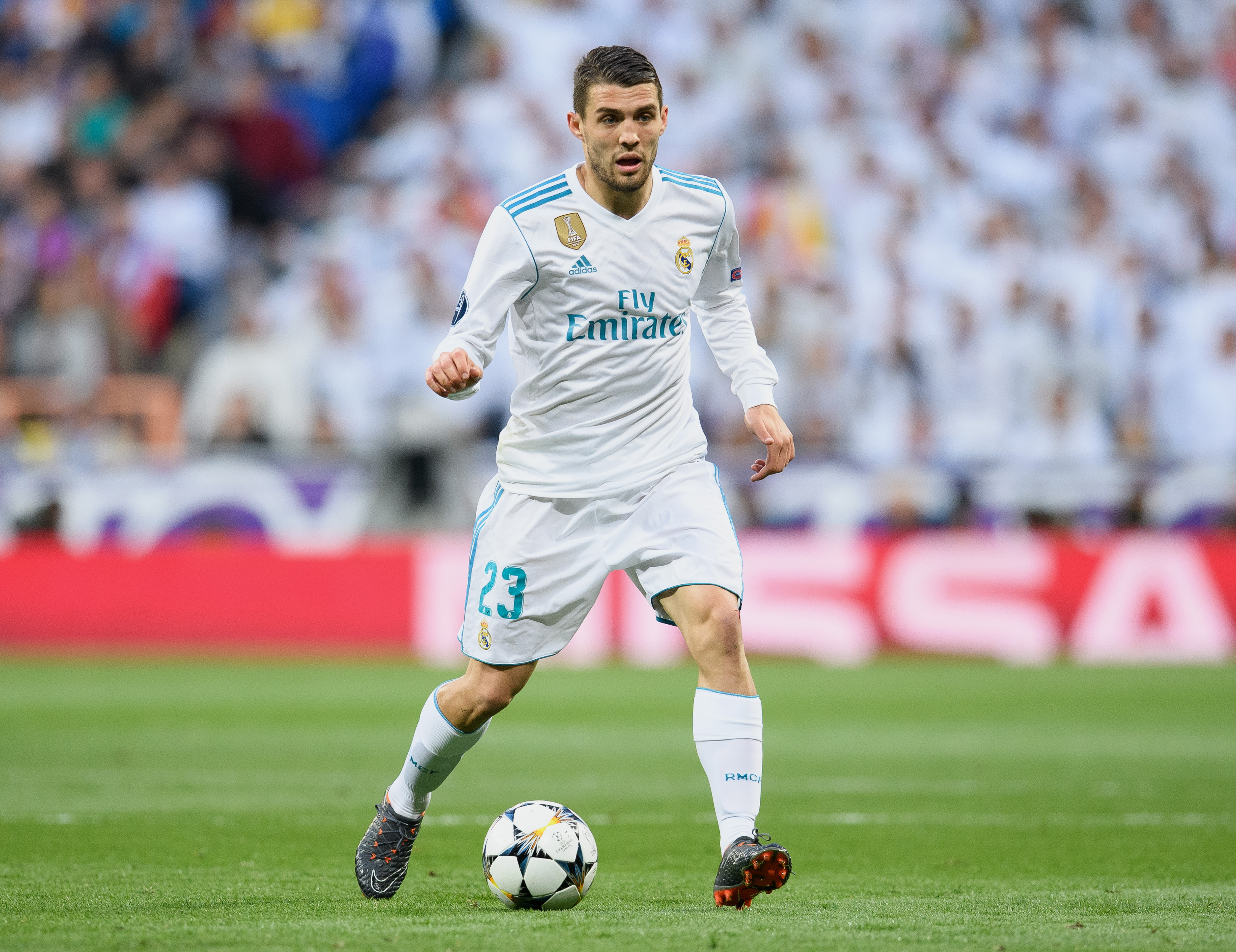 MADRID SPAIN- MAY 01 Mateo Kovacic of Real Madrid controls the ball during the UEFA Champions League Semi Final Second Leg match between Real Madrid and Bayern Muenchen at the Bernabeu