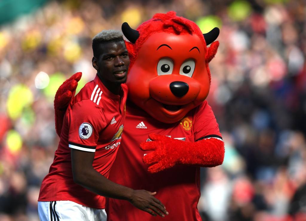 The mascot of the club, with the face of Manchester United. (Picture Courtesy - AFP/Getty Images)