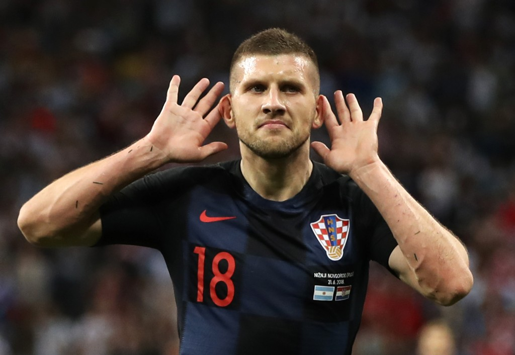 NIZHNY NOVGOROD, RUSSIA - JUNE 21: Ante Rebic of Croatia celebrates after scoring his team's first goal during the 2018 FIFA World Cup Russia group D match between Argentina and Croatia at Nizhny Novgorod Stadium on June 21, 2018 in Nizhny Novgorod, Russia. (Photo by Clive Brunskill/Getty Images)