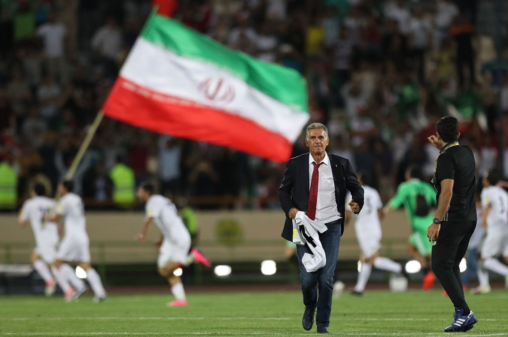 TEHRAN, IRAN - JUNE 12: Head coach Carlos Quieroz and players of Iran celebrate after the match during FIFA 2018 World Cup Qualifier match between Iran and Uzbekistan at Azadi Stadium on June 12, 2017 in Tehran, Iran. (Photo by Amin M. Jamali/Getty Images)