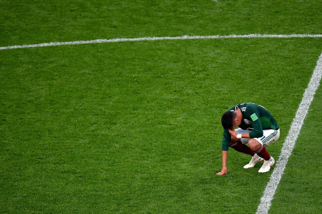 Edson Alvarez was inconsolable after scoring an own goal against Sweden. (Photo courtesy - Dan Mullan/Getty Images)