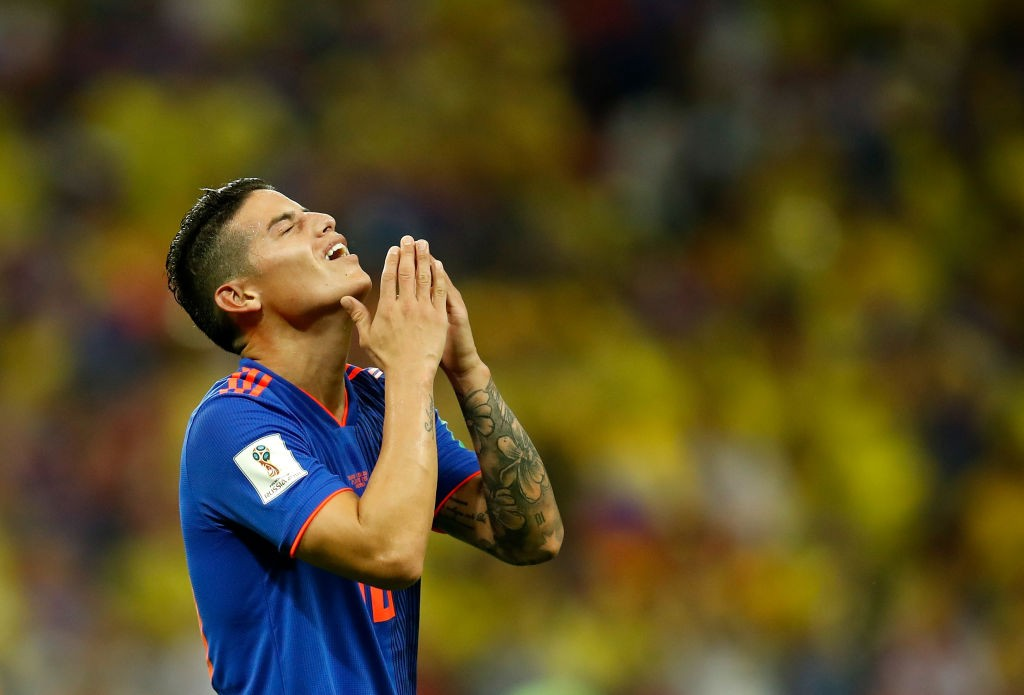 James Rodriguez is yet to reach the goalscoring heights of 2014, but nevertheless is Colombia's most important player in Russia. (Photo courtesy: AFP/Getty)