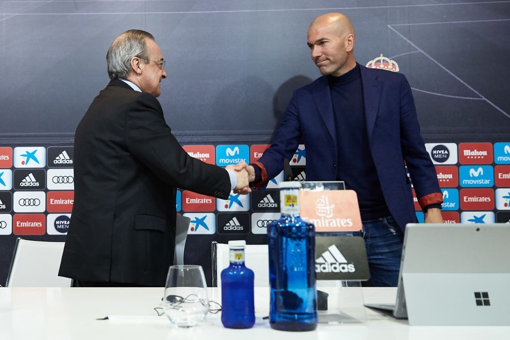 Florentino Perez managed to convince Zidane to return. (Photo by Gonzalo Arroyo Moreno/Getty Images)
