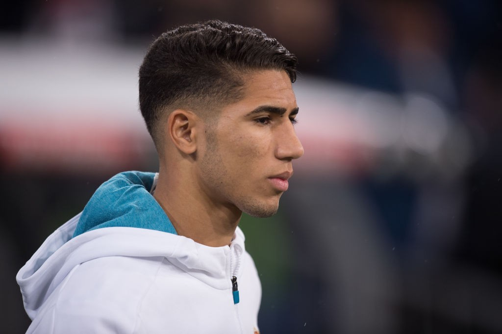 MADRID, SPAIN - NOVEMBER 28: Achraf Hakimi of Real Madrid CF takes to the field for the start of the Copa del Rey, Round of 32, Second Leg match between Real Madrid and Fuenlabrada at Estadio Santiago Bernabeu on November 28, 2017 in Madrid, Spain. (Photo by Denis Doyle/Getty Images)