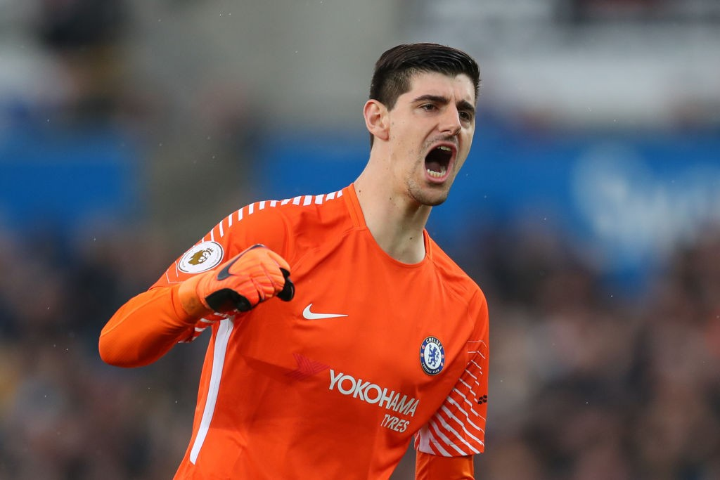 SWANSEA, WALES - APRIL 28: Thibaut Courtois of Chelsea celebrates after his sides first goal during the Premier League match between Swansea City and Chelsea at Liberty Stadium on April 28, 2018 in Swansea, Wales. (Photo by Catherine Ivill/Getty Images)