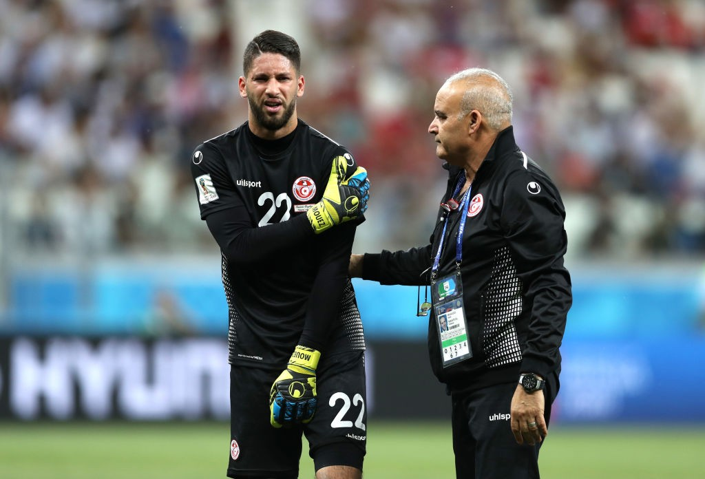 Mouez Hassen injured his shoulder against England and will play no pert in rest of Tunisia's World Cup campaign. (photo courtesy: AFP/Getty)
