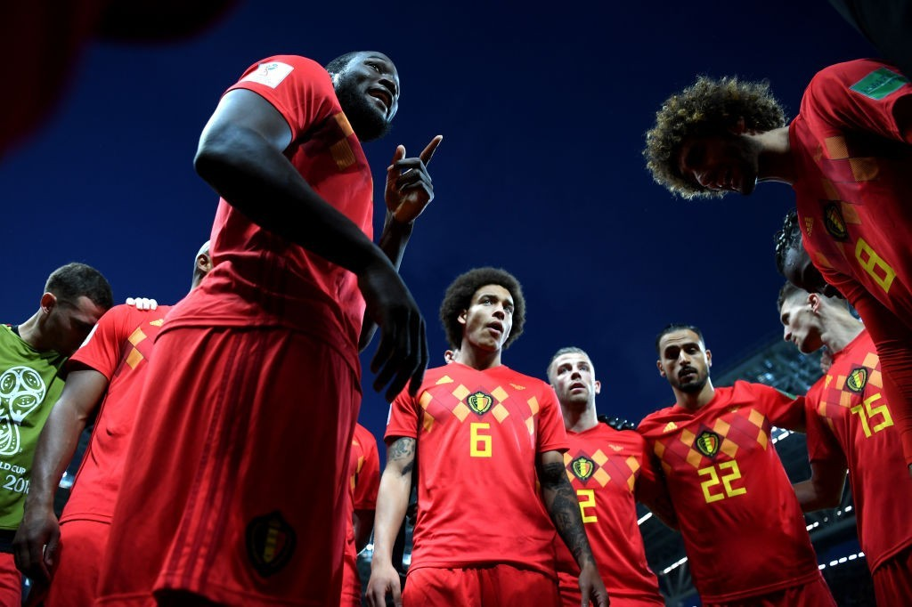 KAZAN, RUSSIA - JULY 06: Romelu Lukaku of Belgium motivates team mates prior to during the 2018 FIFA World Cup Russia Quarter Final match between Brazil and Belgium at Kazan Arena on July 6, 2018 in Kazan, Russia. (Photo by Shaun Botterill/Getty Images)