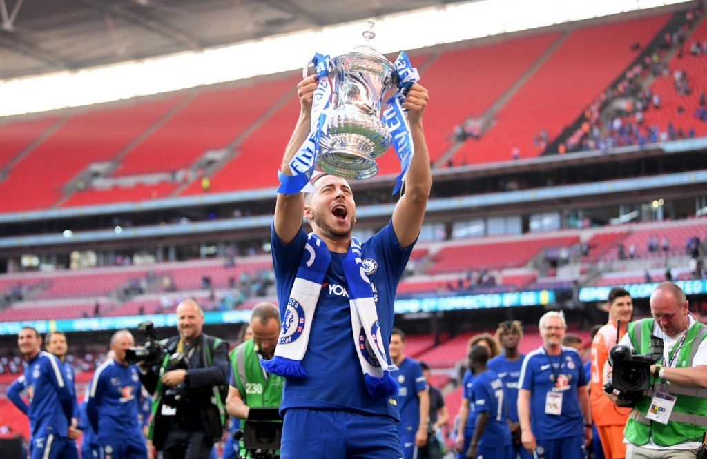 Lifting the FA Cup trophy could just be one of the last Chelsea memories for Eden Hazard. (Photo courtesy - Laurence Griffiths/Getty Images)