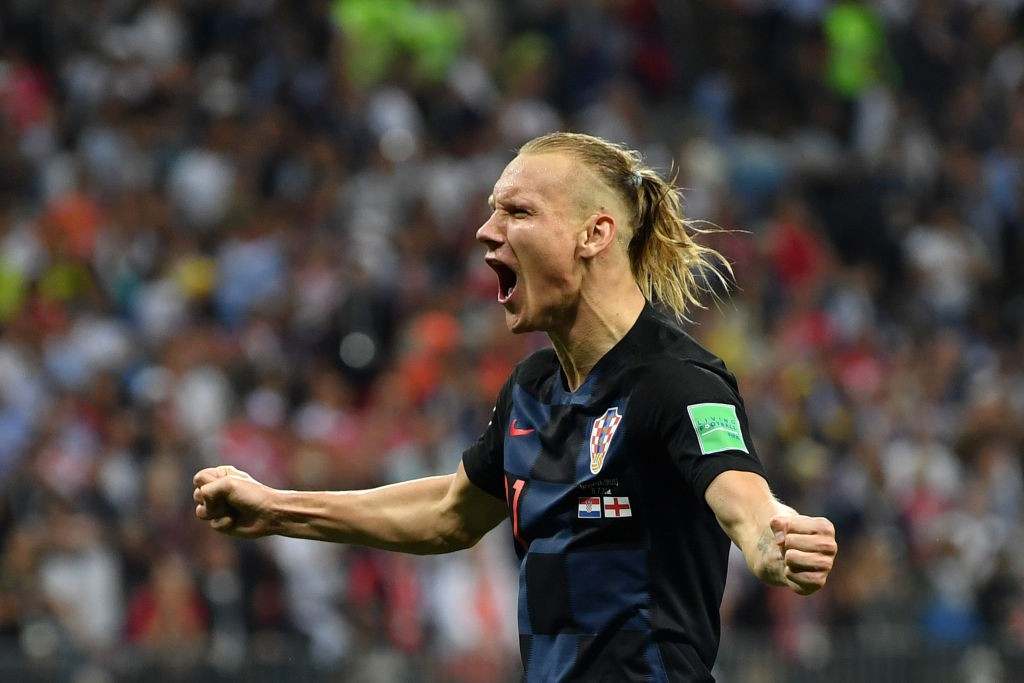 MOSCOW, RUSSIA - JULY 11: Domagoj Vida of Croatia celebrates following his sides victory in the 2018 FIFA World Cup Russia Semi Final match between England and Croatia at Luzhniki Stadium on July 11, 2018 in Moscow, Russia. (Photo by Dan Mullan/Getty Images)