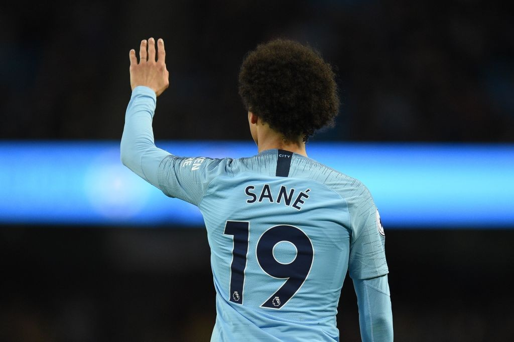 Manchester City's German midfielder Leroy Sane gestures during the English Premier League football match between Manchester City and Brighton and Hove Albion at the Etihad Stadium in Manchester, north west England, on May 9, 2018. (Photo by Oli SCARFF / AFP) / RESTRICTED TO EDITORIAL USE. No use with unauthorized audio, video, data, fixture lists, club/league logos or 'live' services. Online in-match use limited to 75 images, no video emulation. No use in betting, games or single club/league/player publications. / (Photo credit should read OLI SCARFF/AFP/Getty Images)