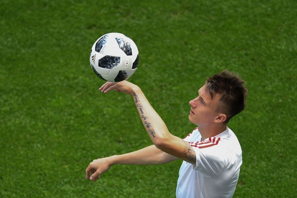 Russia's midfielder Aleksandr Golovin takes part to a training session on the eve of the Russia 2018 World Cup Group A football match between Russia and Uruguay at the Samara Arena on June 24, 2018 in Samara. (Photo by Manan VATSYAYANA / AFP) (Photo credit should read MANAN VATSYAYANA/AFP/Getty Images)