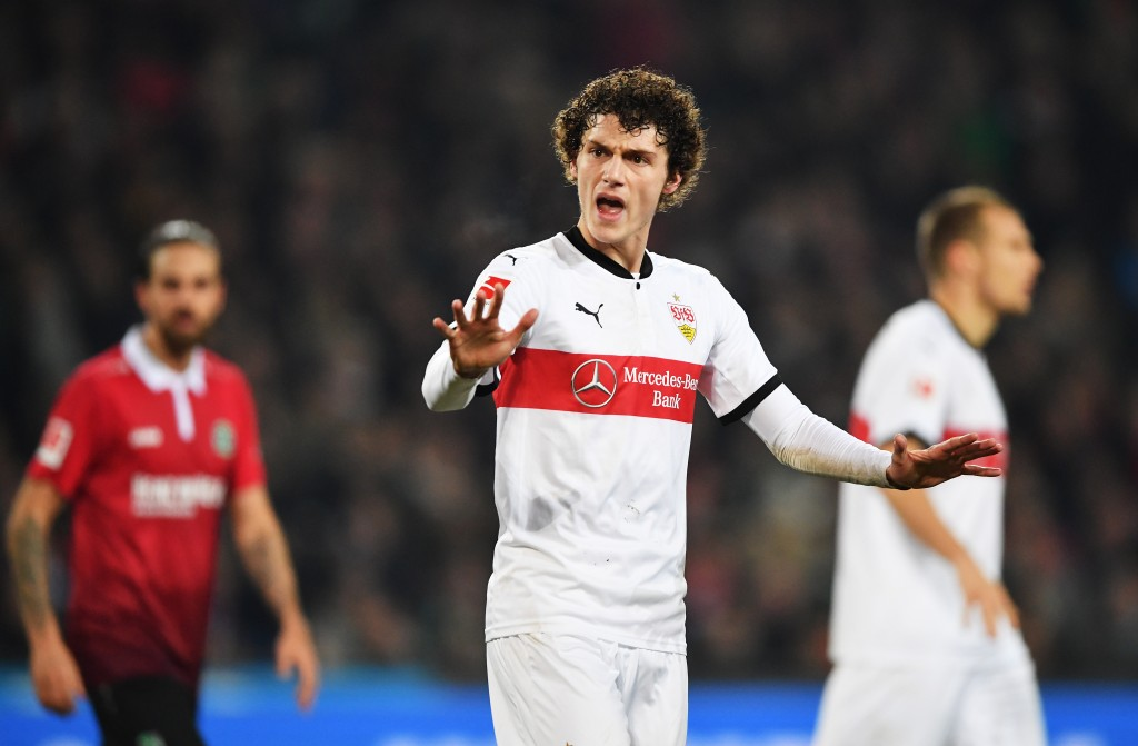 HANOVER, GERMANY - NOVEMBER 24: Benjamin Pavard of VfB Stuttgart during the Bundesliga match between Hannover 96 and VfB Stuttgart at HDI-Arena on November 24, 2017 in Hanover, Germany. (Photo by Stuart Franklin/Bongarts/Getty Images)