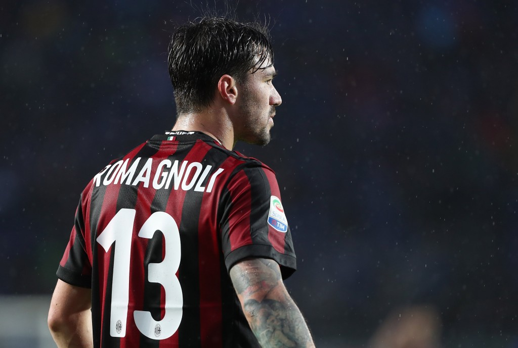 BERGAMO, ITALY - MAY 13: Alessio Romagnoli of AC Milan looks on during the serie A match between Atalanta BC and AC Milan at Stadio Atleti Azzurri d'Italia on May 13, 2018 in Bergamo, Italy. (Photo by Marco Luzzani/Getty Images)